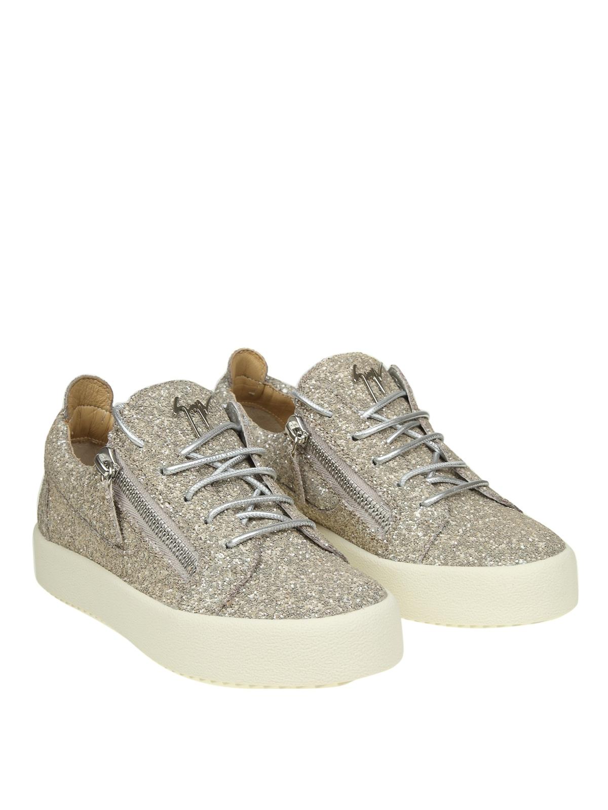 fbc1284711f04 GIUSEPPE ZANOTTI: trainers online - Cheryl champagne coarse glitter sneakers