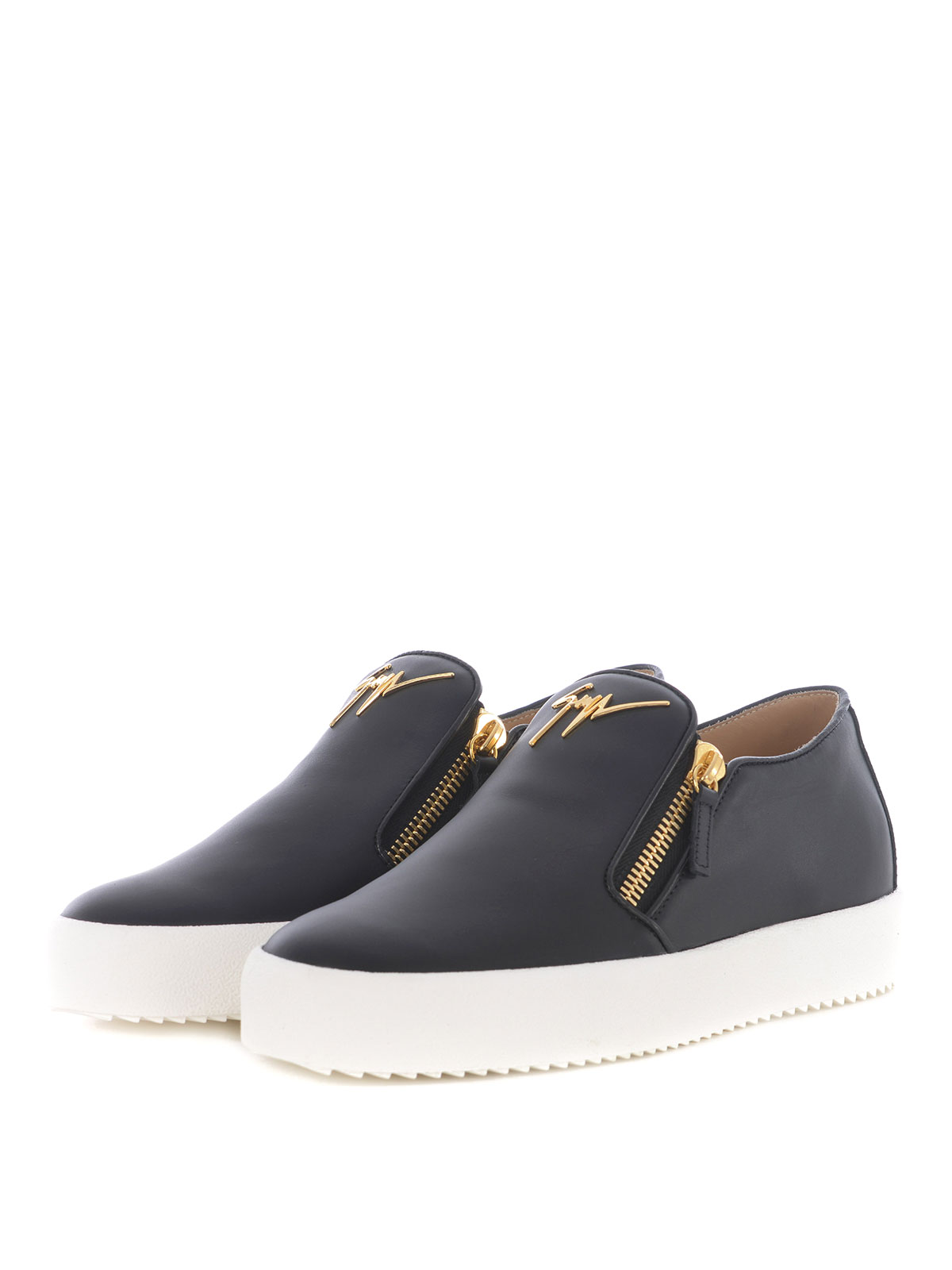 Double zip black leather slip-ons
