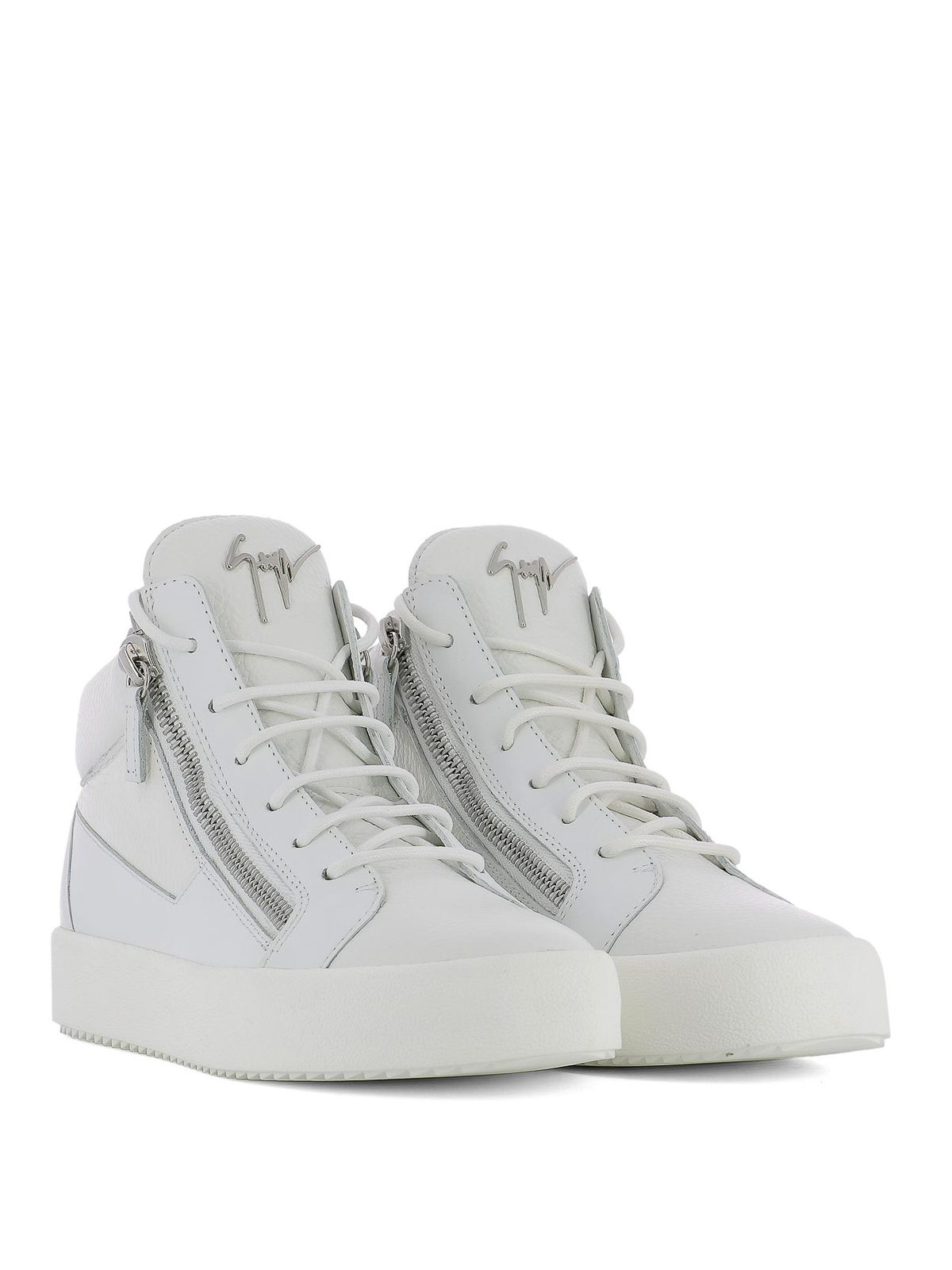20fbb6bfcc907 Giuseppe Zanotti - Double zip leather sneakers - trainers - RU70009049