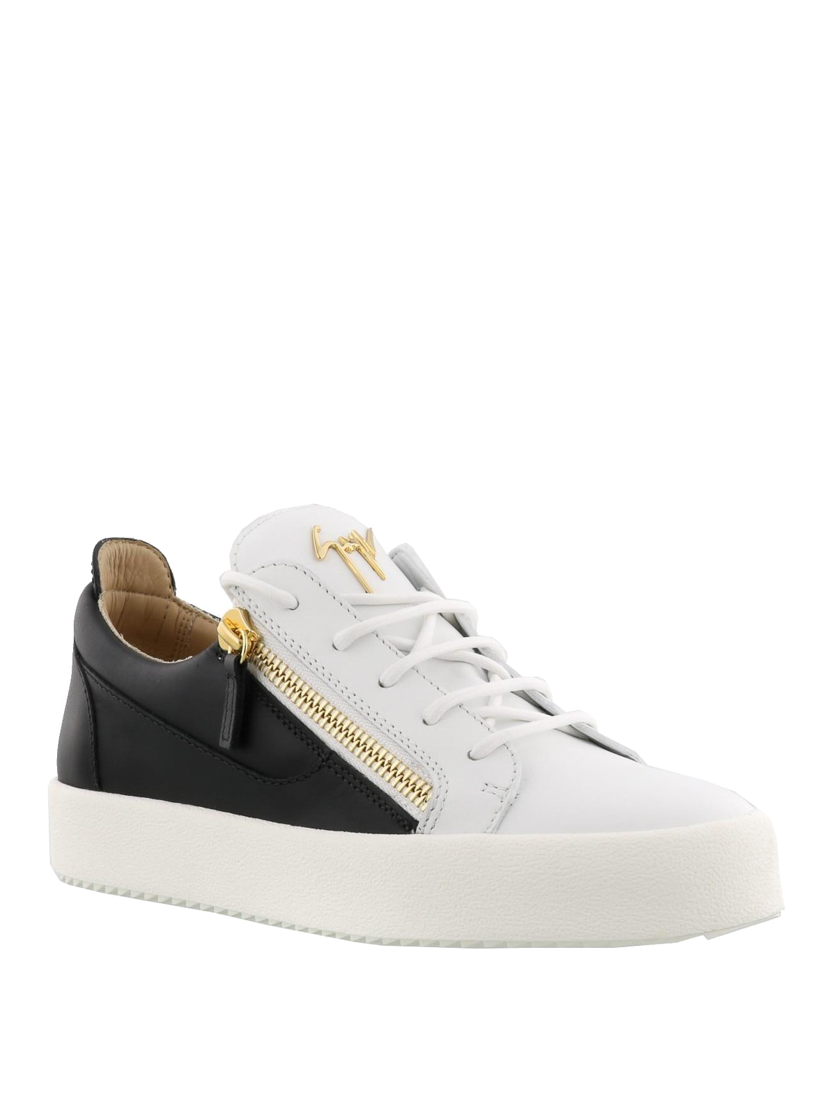 f1dc8ead9 GIUSEPPE ZANOTTI: trainers online - Frankie black and white leather sneakers