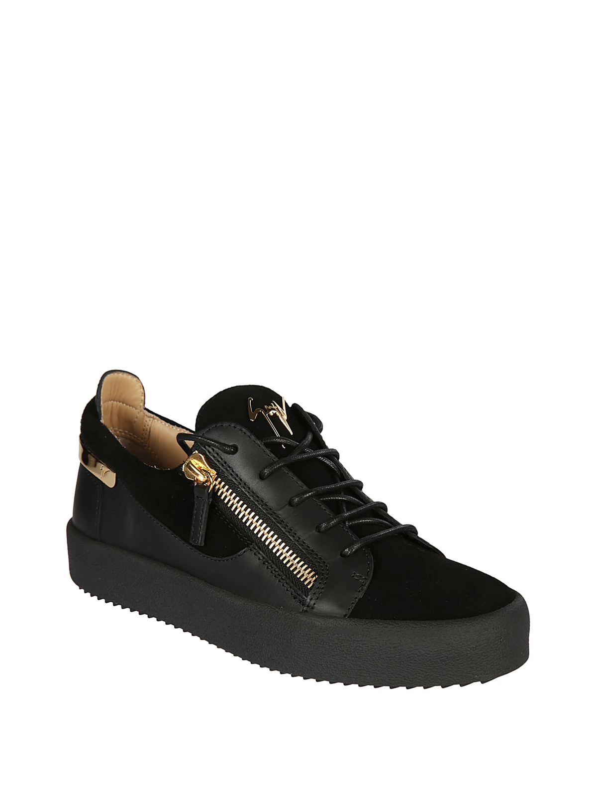 GIUSEPPE ZANOTTI  trainers online - Frankie black leather and suede sneakers 57926d536746
