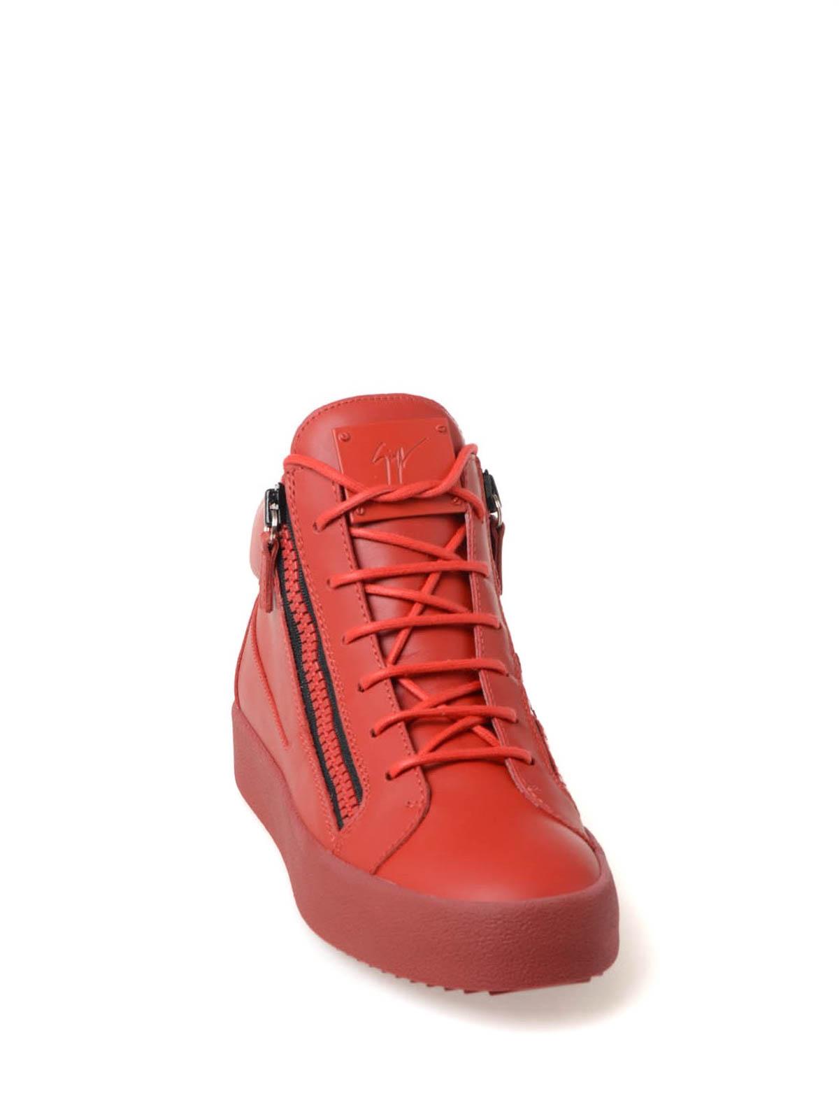 giuseppe zanotti red wedge sneakers