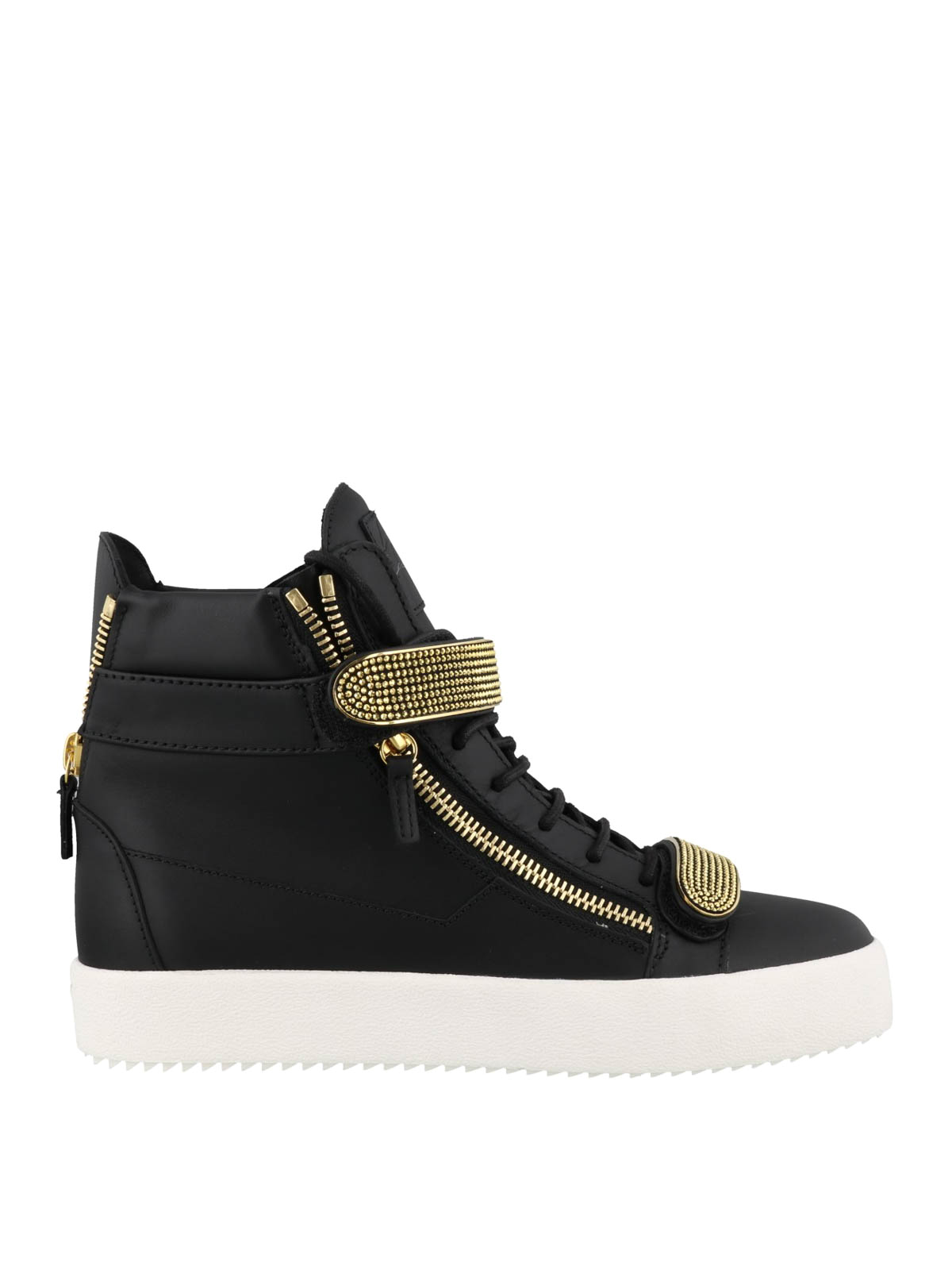 best newest lace up in Giuseppe Zanotti - May London black and gold sneakers ...