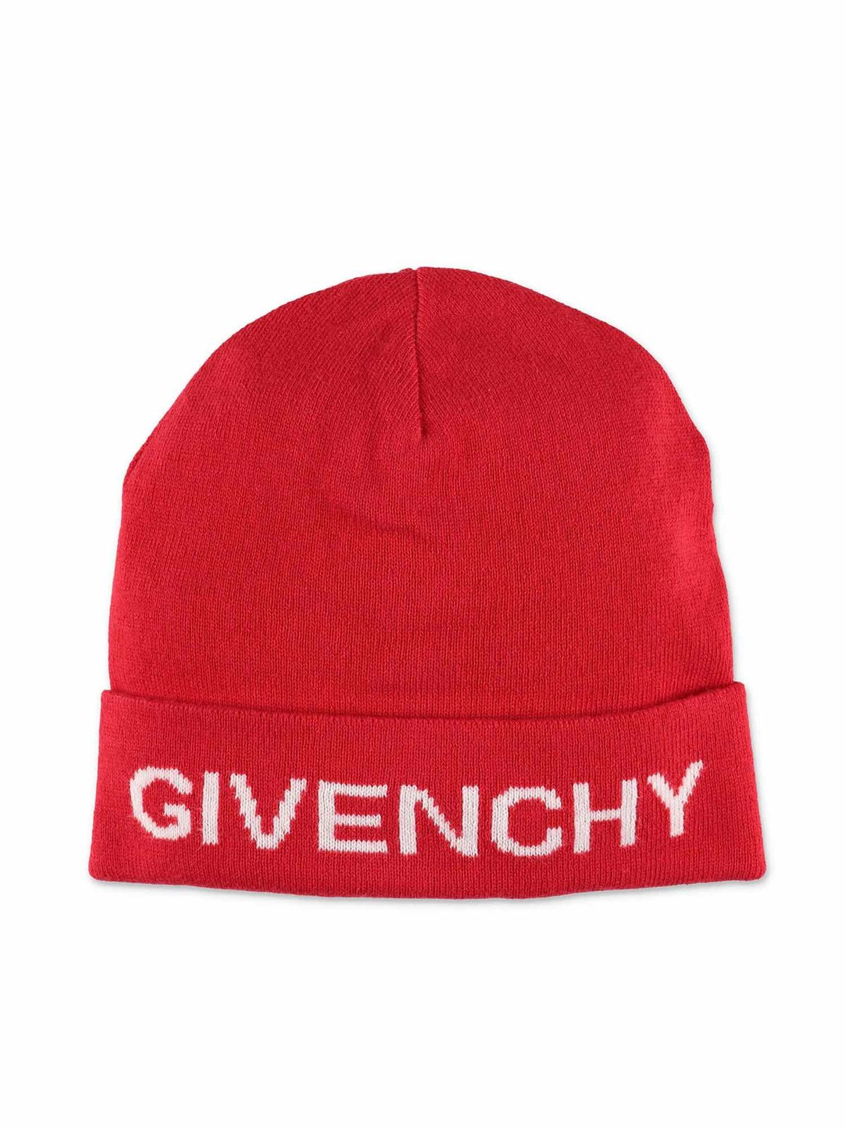Givenchy RED BEANIE WITH LOGO