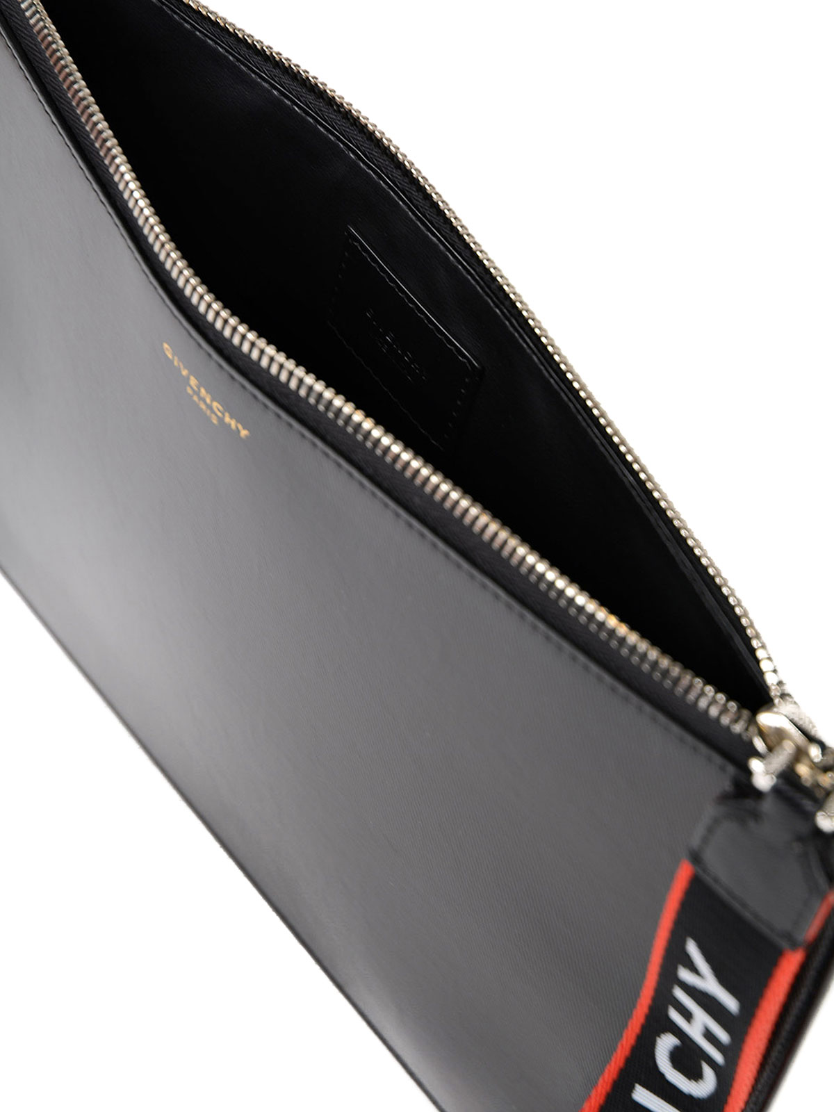 Givenchy - Logo wristlet leather pouch