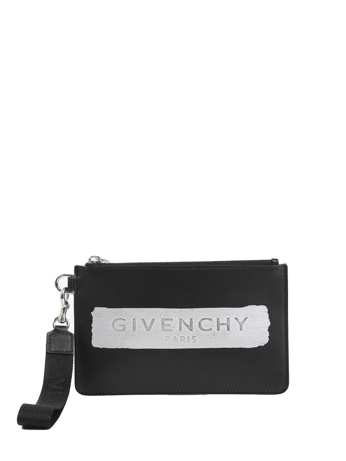 Givenchy Logo Stripe Clutch In Black