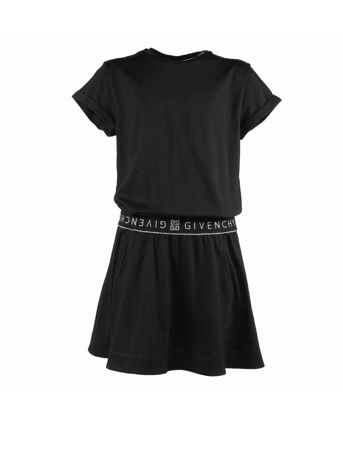 Givenchy Kids' Branded Waistband Dress In Black