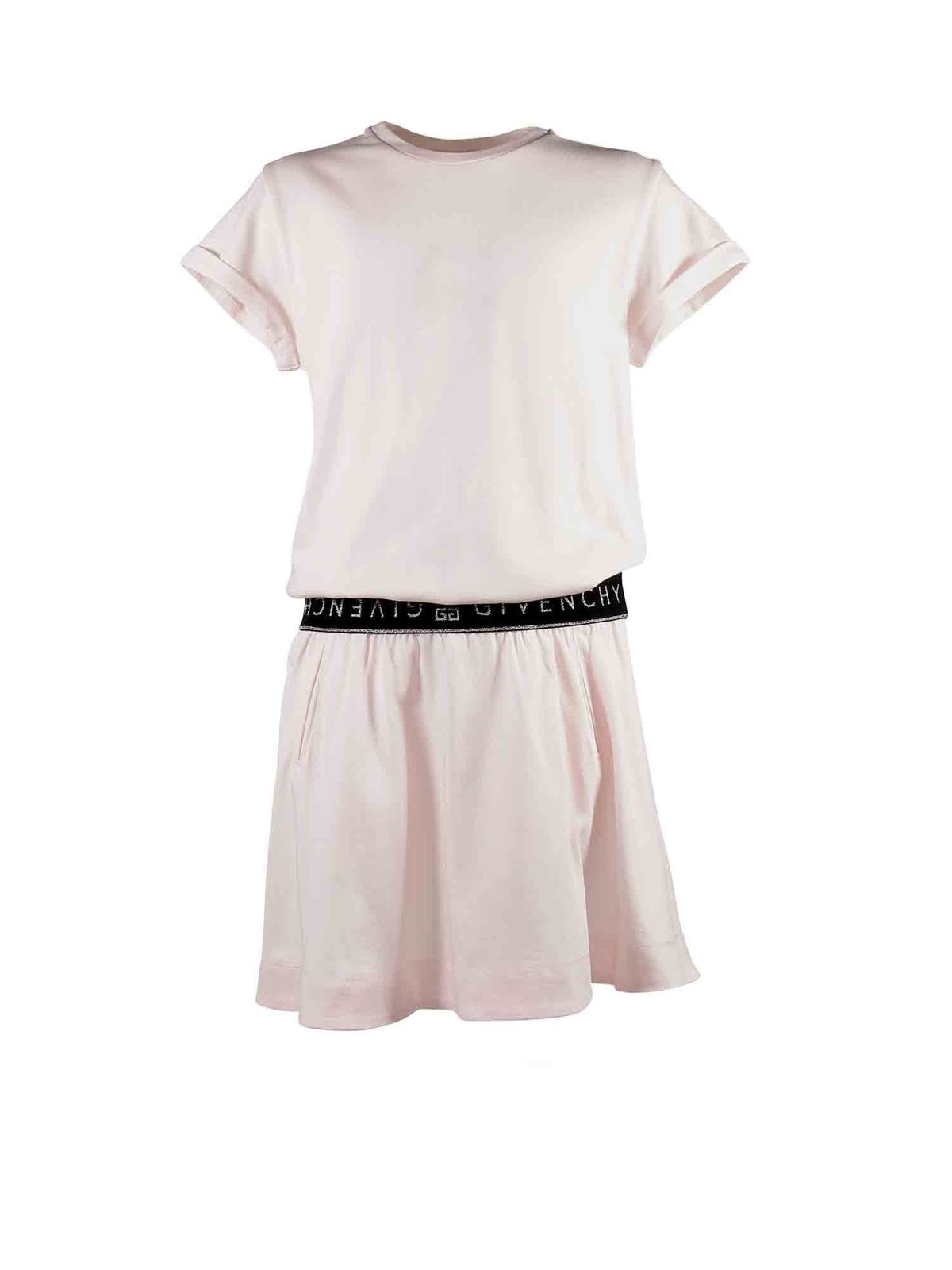 Givenchy Kids' Branded Waistband Dress In Pink