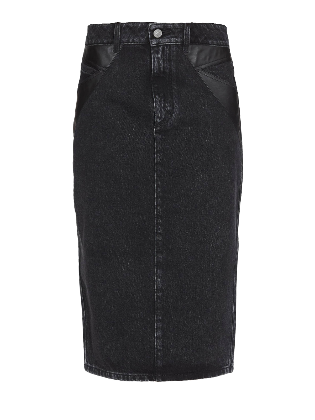 f91c091ff GIVENCHY: Knee length skirts & Midi - Black denim and leather pencil midi  skirt
