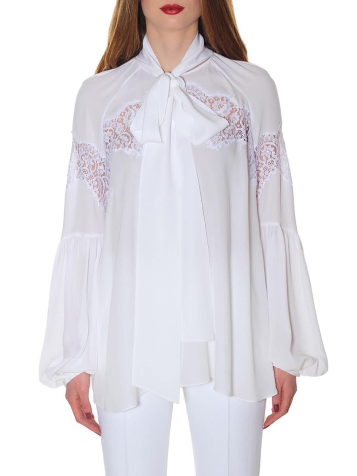 e51ace54a2955 Givenchy - Silk georgette and lace blouse - blouses - BW60131036100
