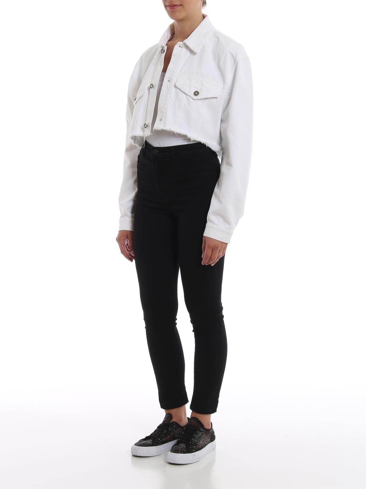 Giacche Crop In Ricamato Denim Giacca Con Logo Givenchy m8yvNwn0O