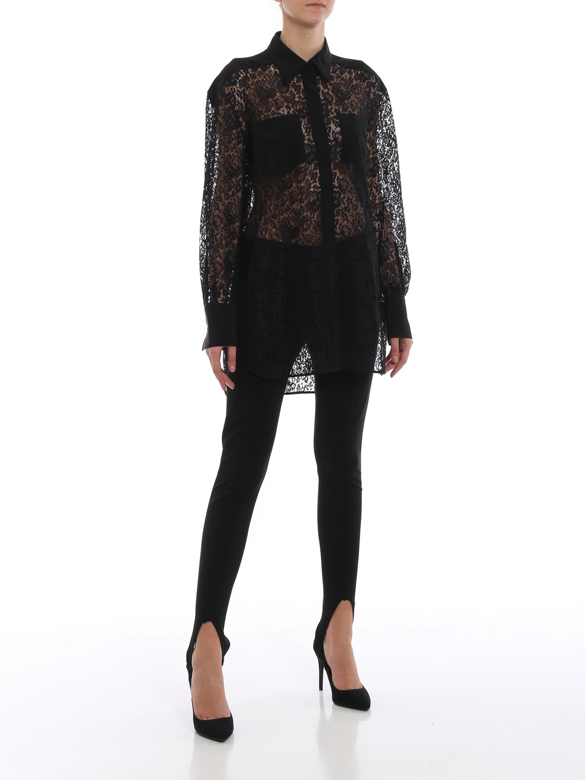 promo code bc875 b9664 Givenchy - Camicia nera in pizzo trasparente - camicie ...