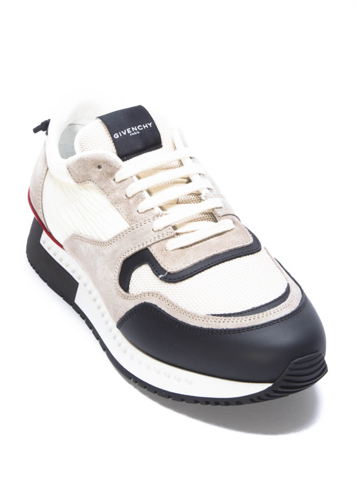Sneakers with leather inserts