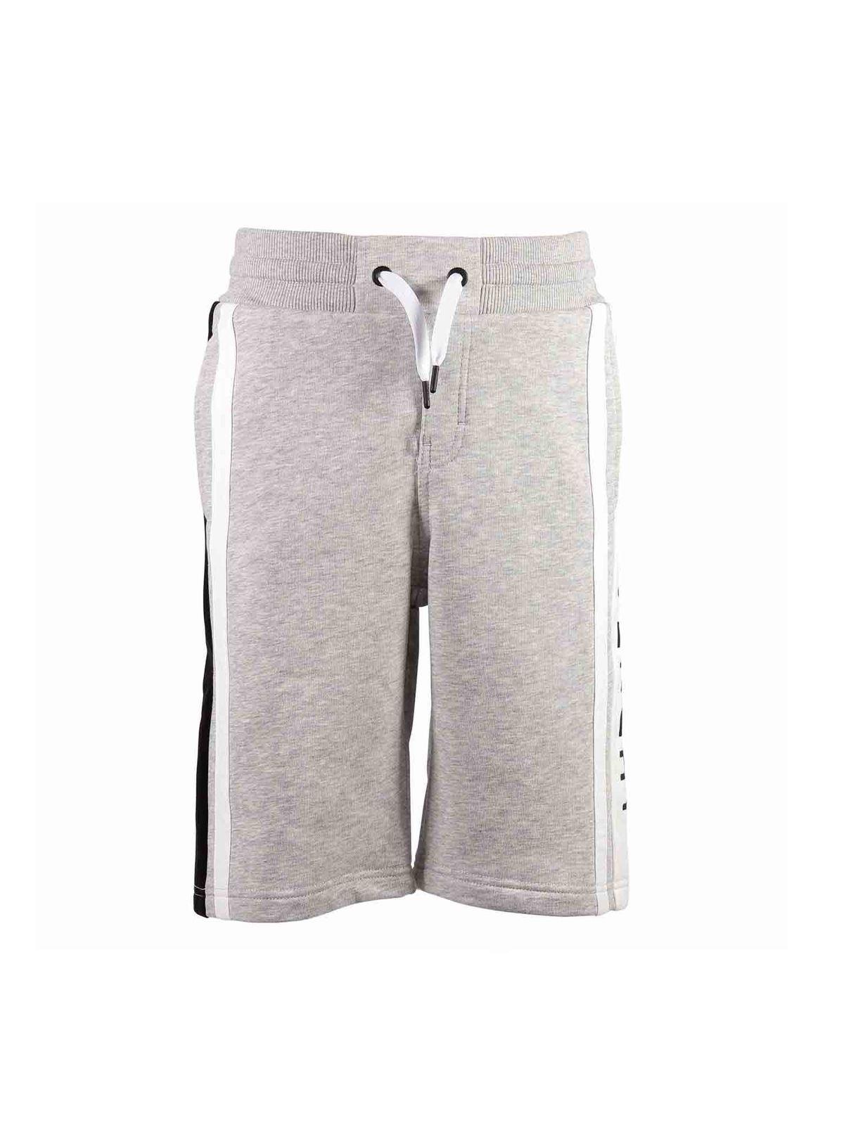 Givenchy Kids' Branded Shorts In Grey Melange Cotton
