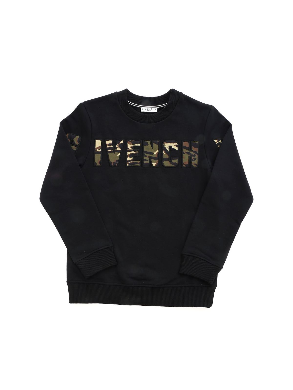 Givenchy Cottons CAMOUFLAGE DETAILS CREWNECK SWEATSHIRT IN BLA