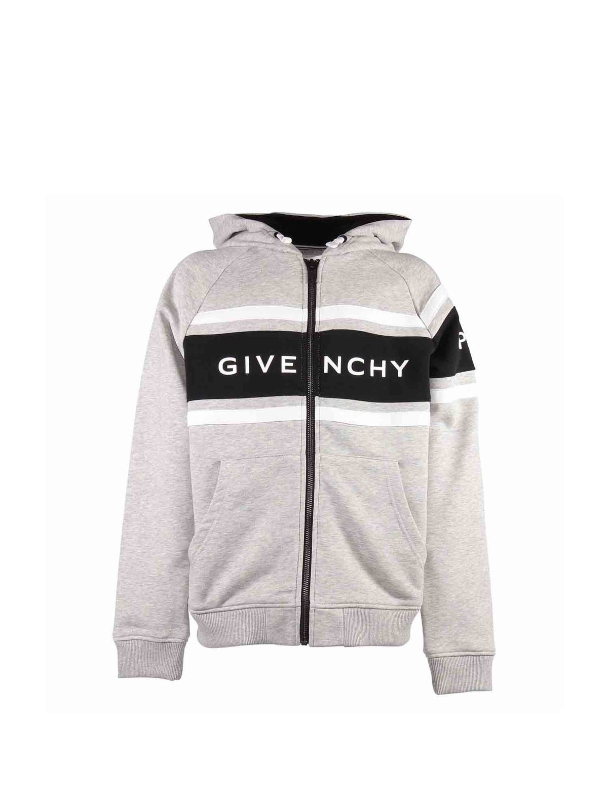 Givenchy Kids' Zipped Hooded Sweatshirt In Melange Grey