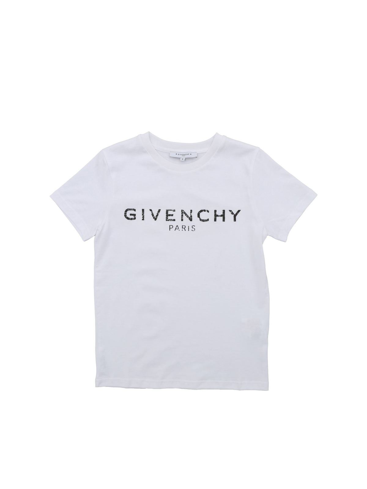 Givenchy Kids' Destroyed Effect Logo Print T-shirt In White