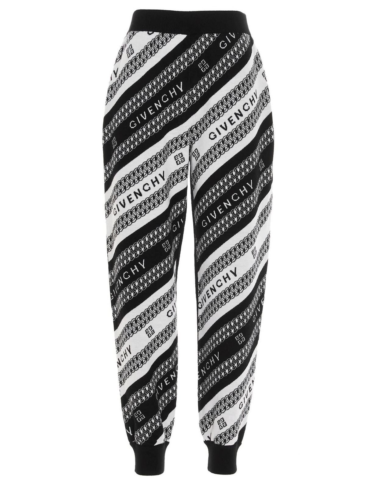 GIVENCHY CHAINE JOGGERS IN BLACK AND WHITE