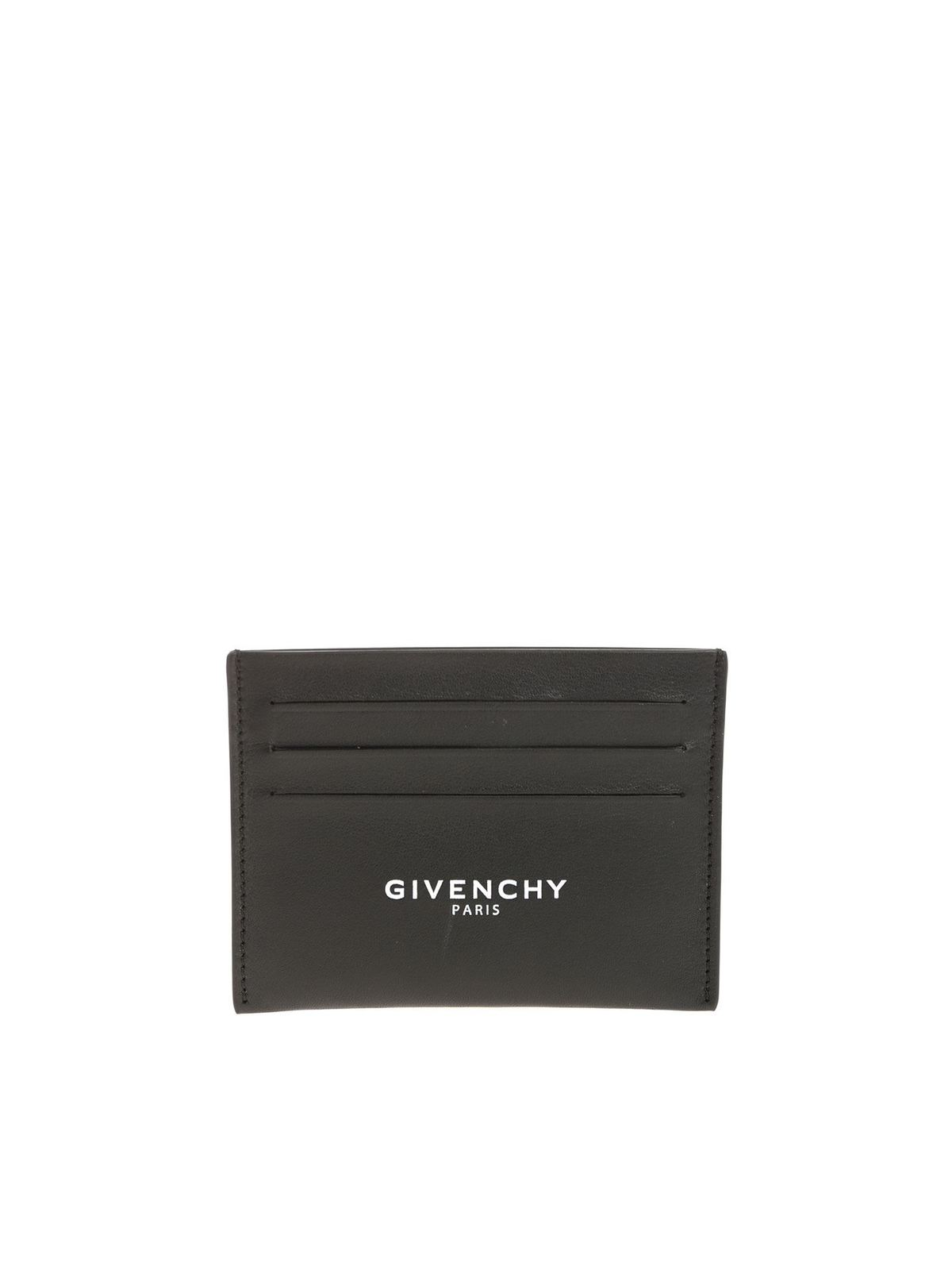 Givenchy Black Card Holder With White Logo Print