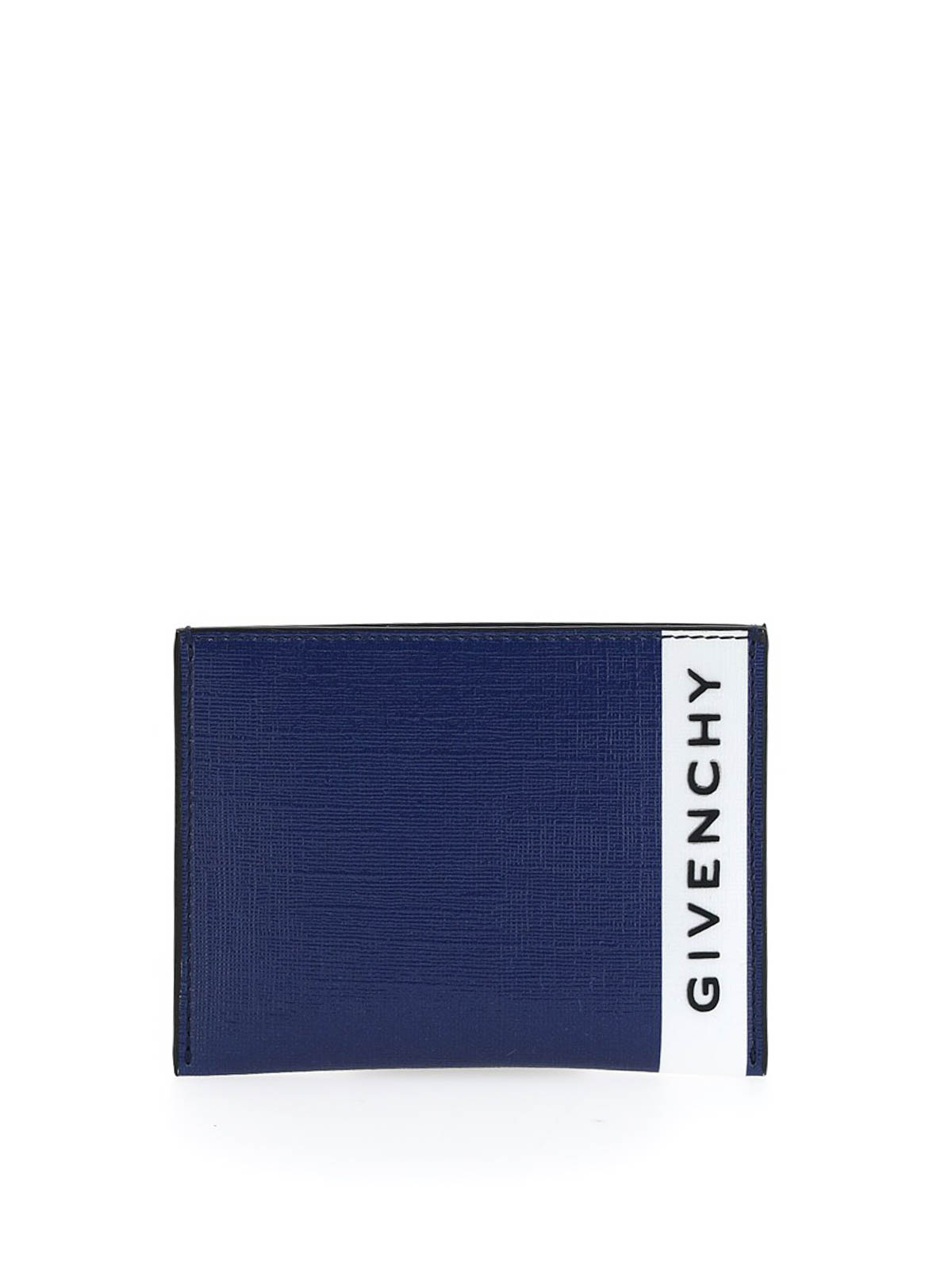 Givenchy Eco Saffiano Leather Card Holder In Blue