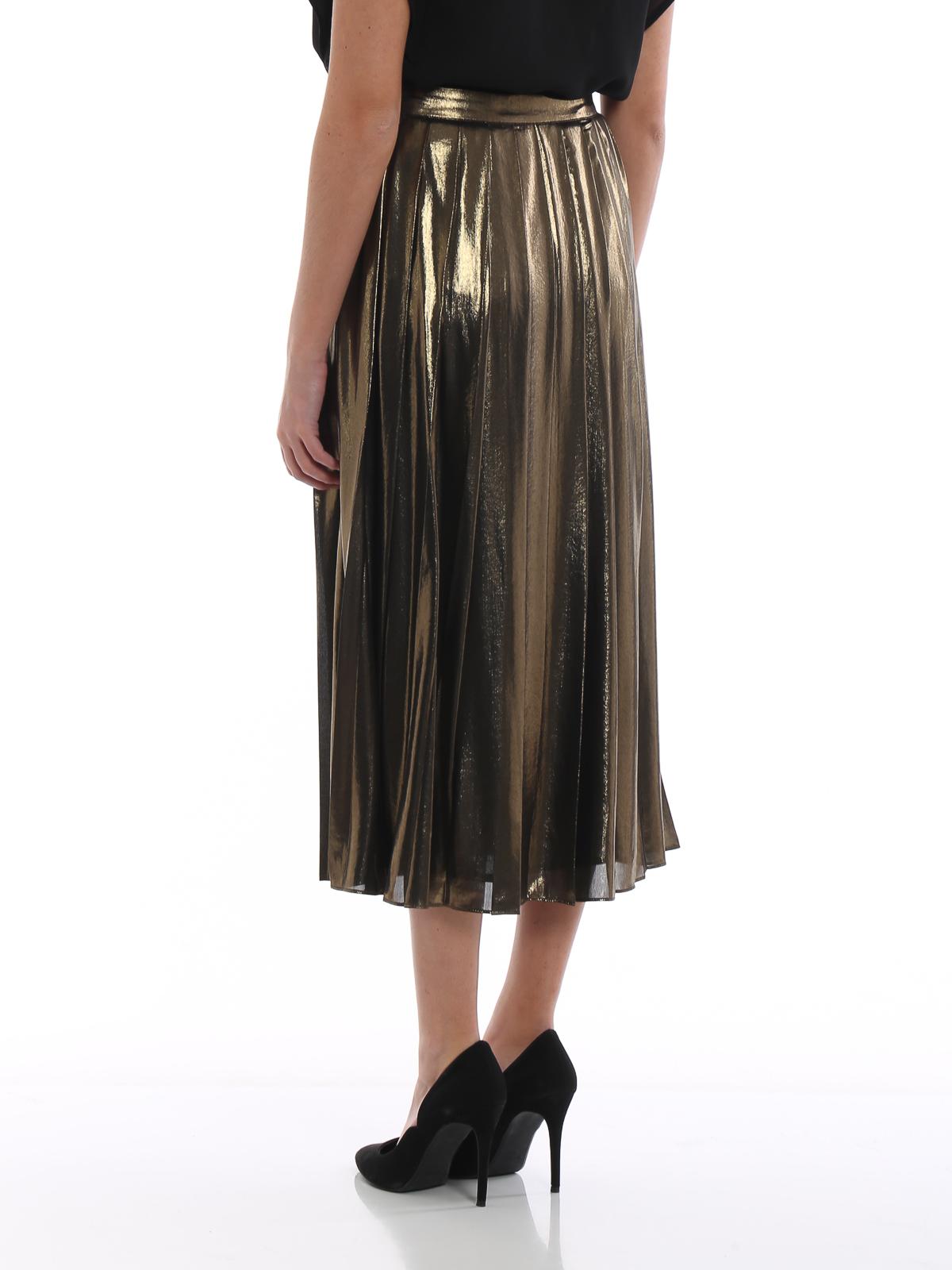 in vendita acd02 25e8d Michael Kors - Gonna plissettata lunga spalmata color oro ...