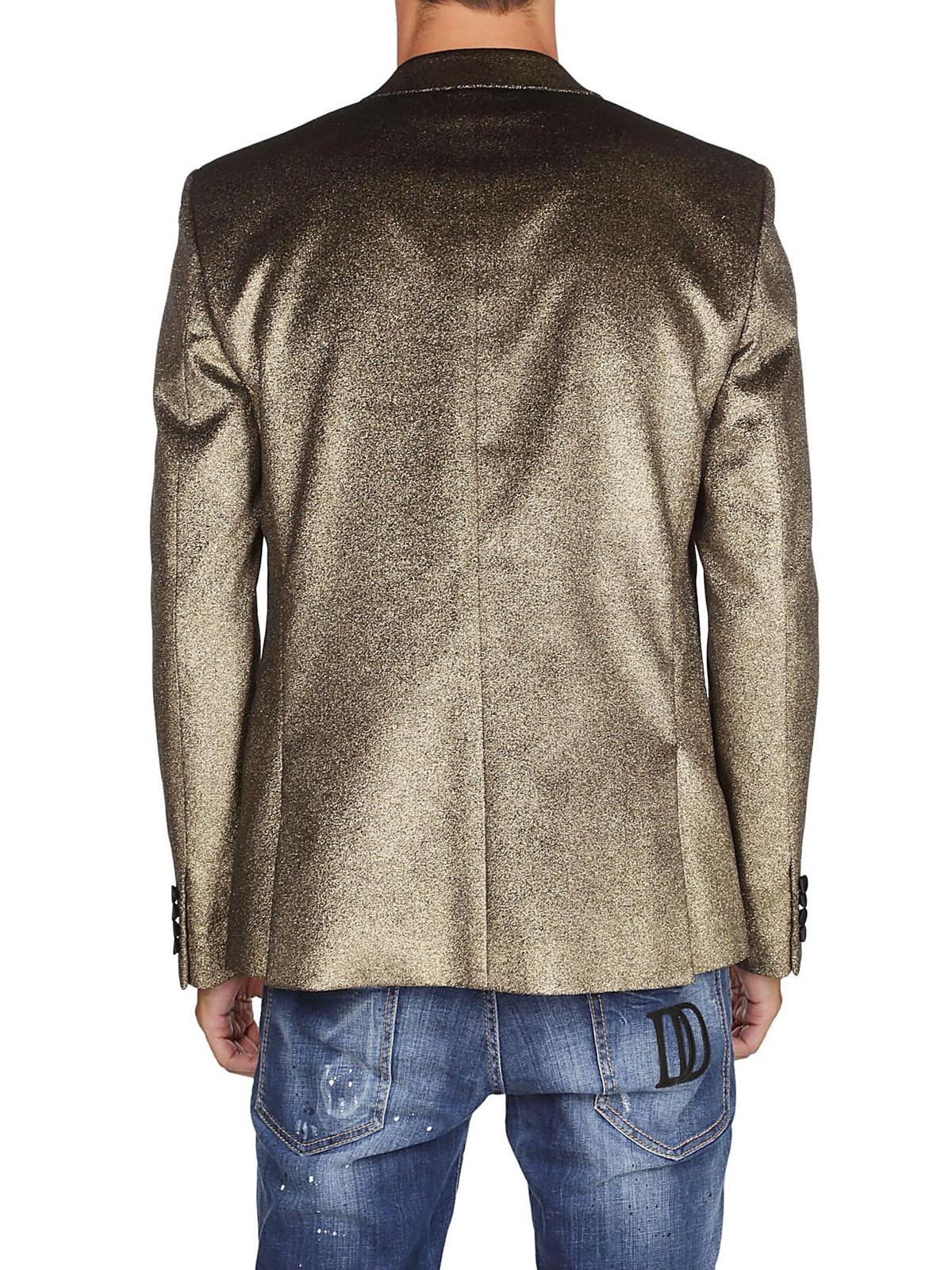 5c7b38c6ce3a8 Saint Laurent - Blazer in velluto glitterato color oro - giacche ...