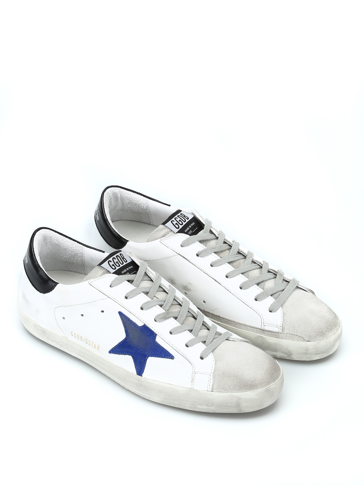 Golden Goose - Blue suede patch white