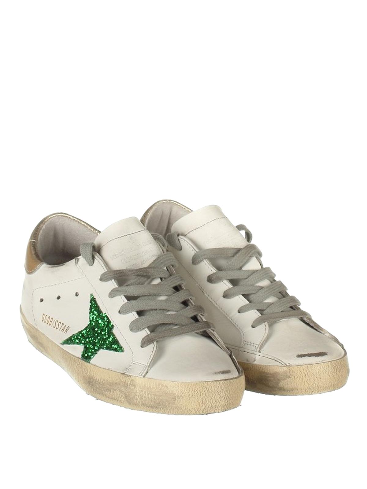 Green glitter patch Superstar shoes
