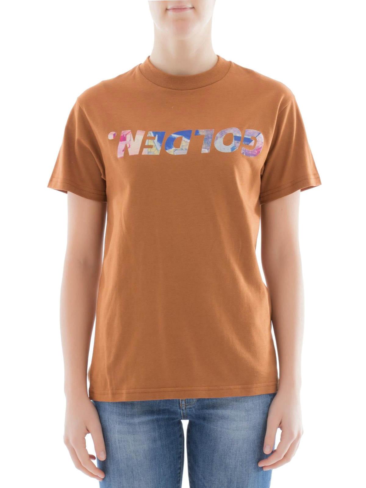 Logo print cotton t shirt by golden goose t shirts ikrix for Print logo on shirt