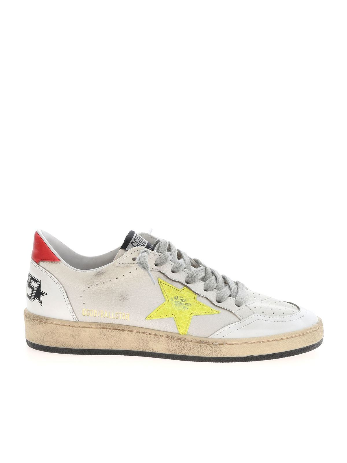 GOLDEN GOOSE BALL STAR SNEAKERS IN WHITE RED AND YELLOW