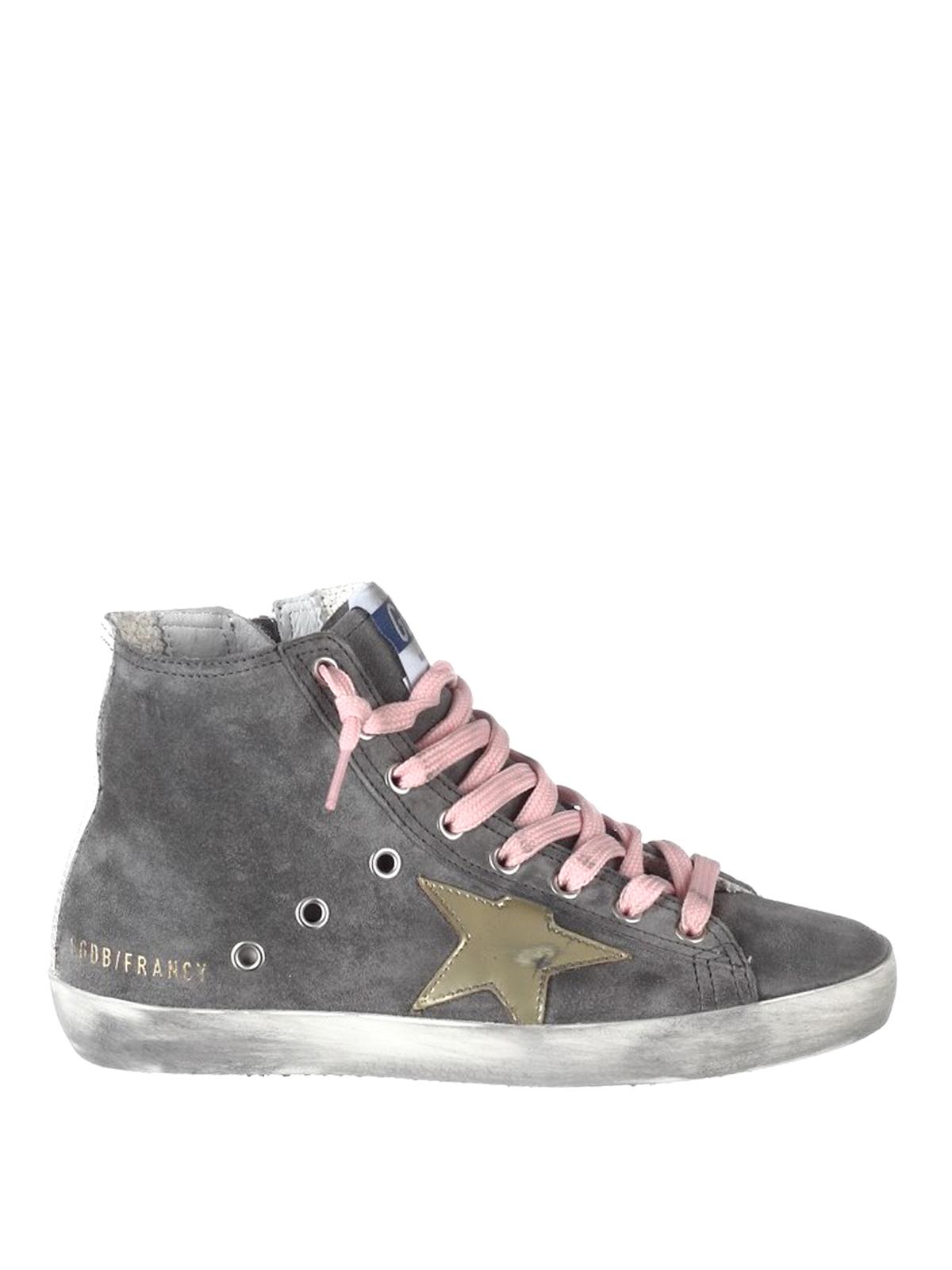 grey suede high top sneakers