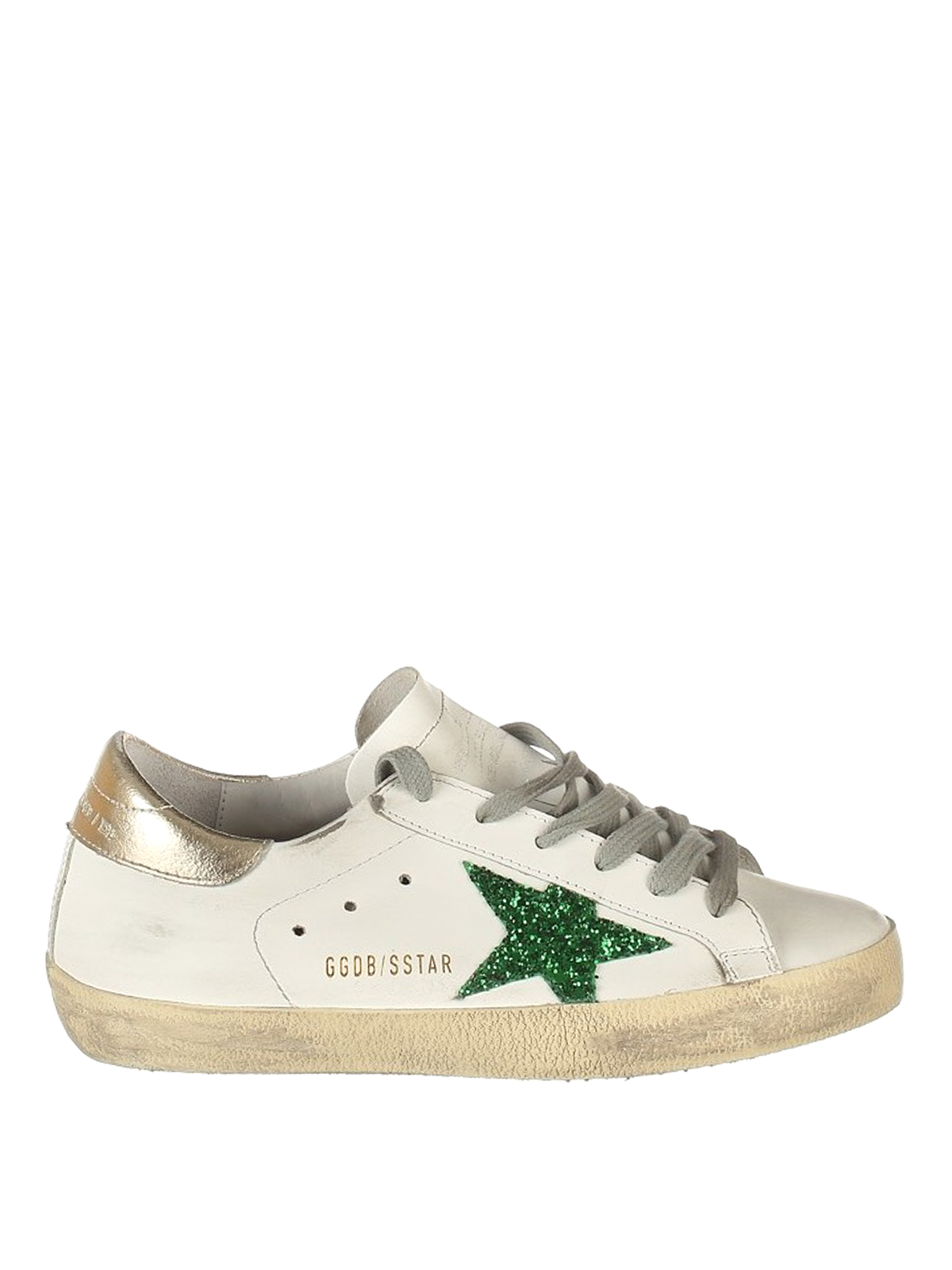 uk availability 0d944 a4f7e GOLDEN GOOSE  trainers - Green glitter patch Superstar shoes