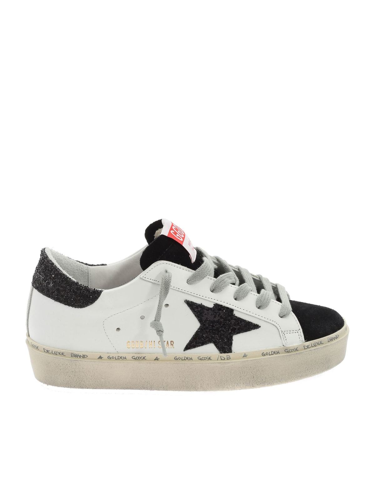 GOLDEN GOOSE HI STAR CLASSIC SNEAKERS IN WHITE AND BLACK