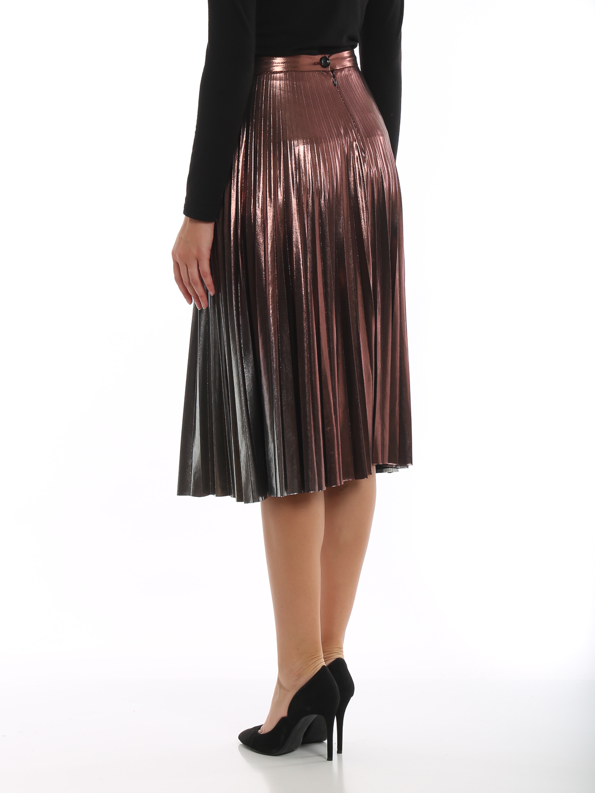 online store 4b9c6 3c327 Patrizia Pepe - Gradient laminated pleated skirt - Knee ...