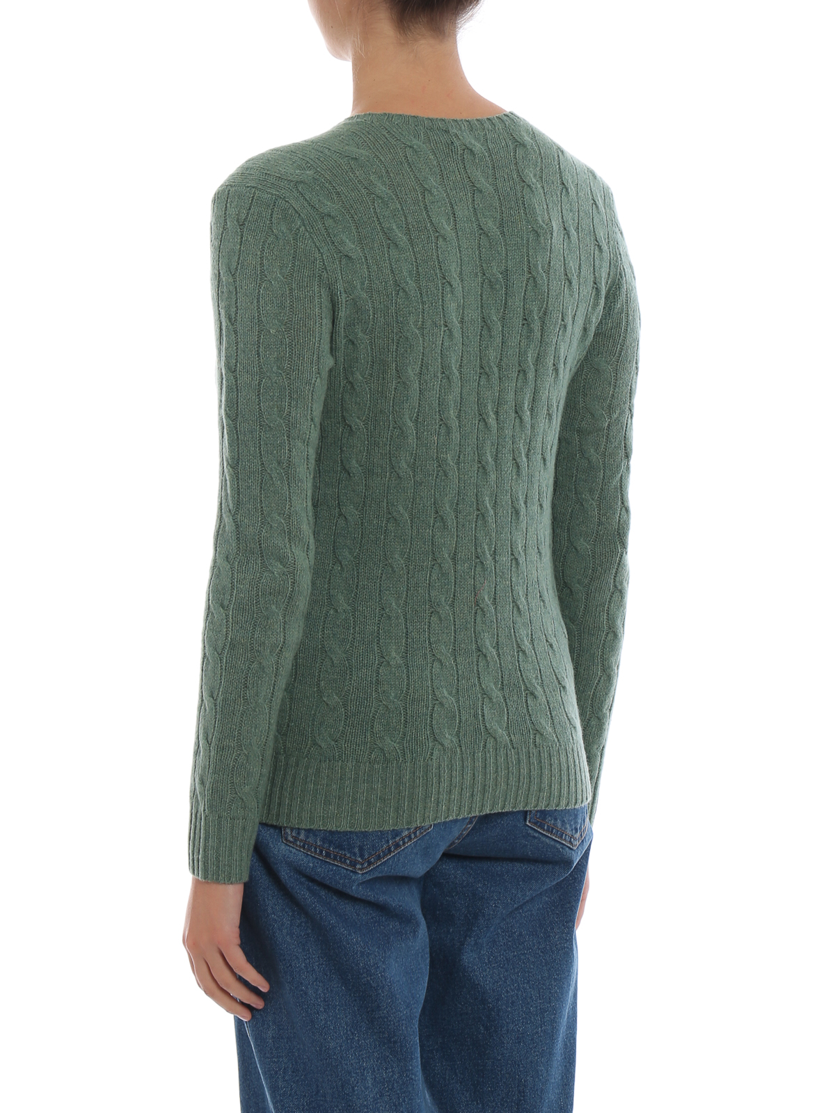 0558b37fe Green cable knit merino and cashmere sweater shop online  POLO RALPH LAUREN
