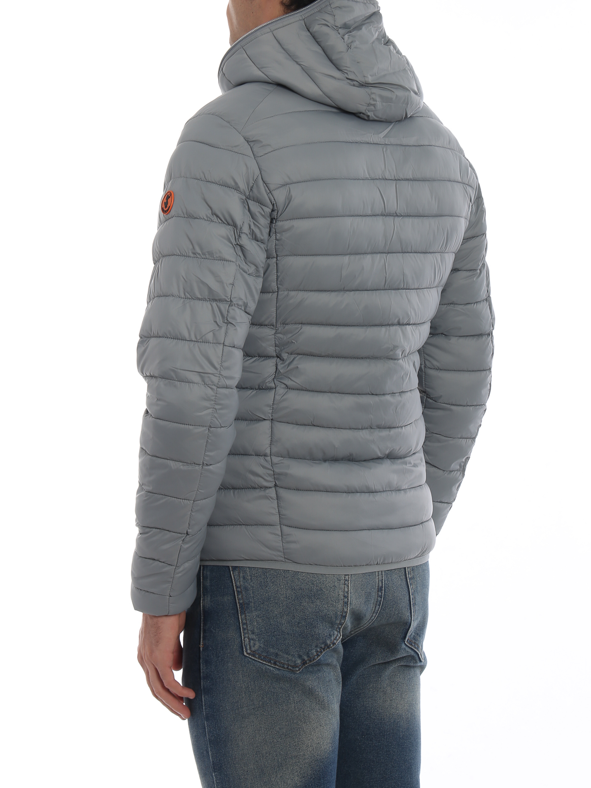 Save The Duck Grey Extra Light Hooded Puffer Jacket