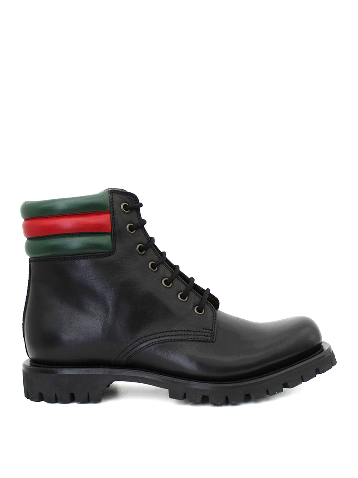 Gucci Web Detailed Combat Boots Ankle Boots 429220