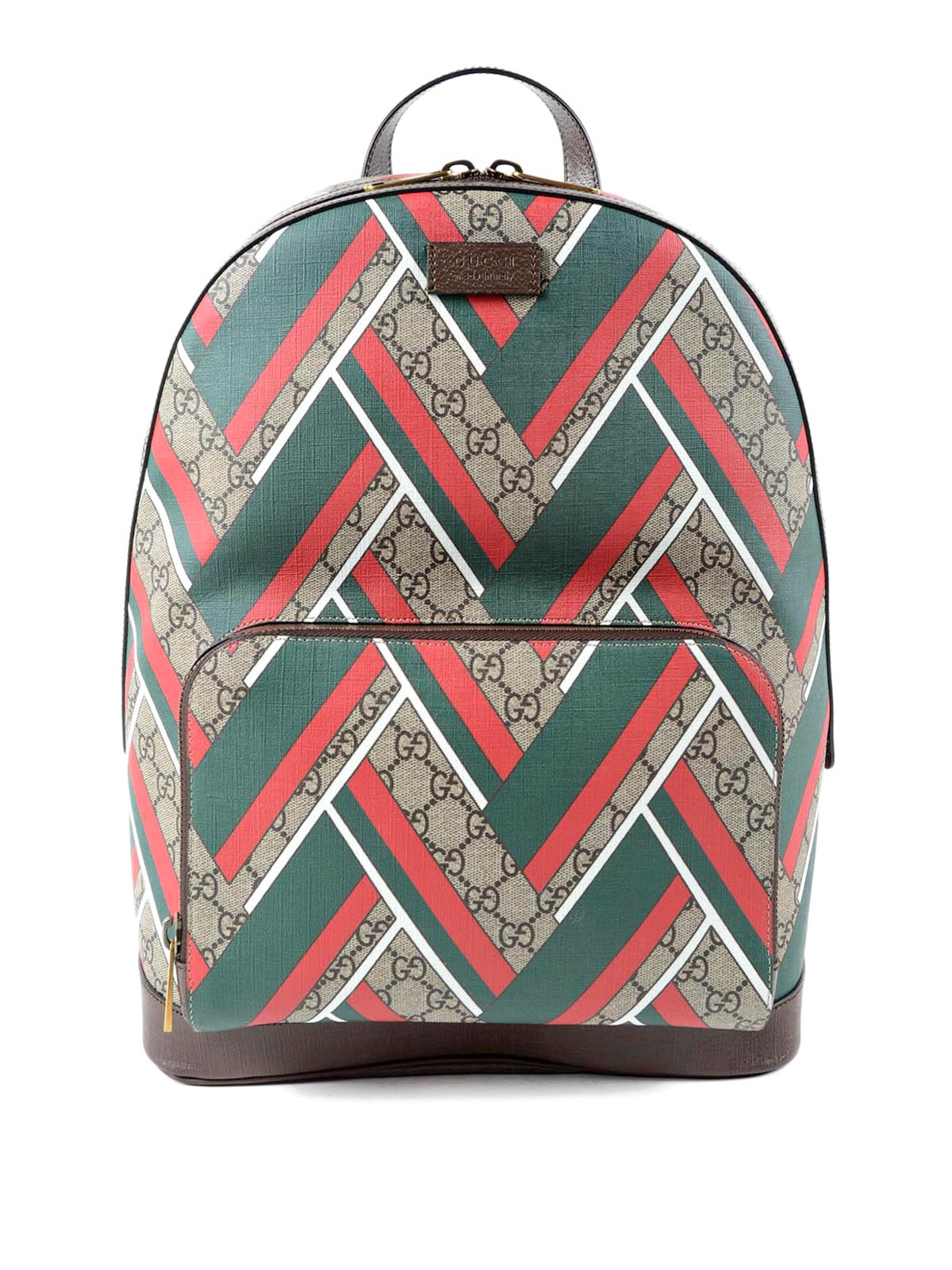 Gucci - GG Supreme and Chevron backpack - backpacks - 406370 K1MIT 8559 947c0aae9dab9