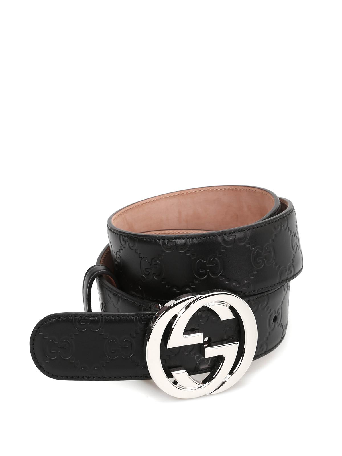 Gucci - Interlocking GG leather belt - belts - 411924 ...