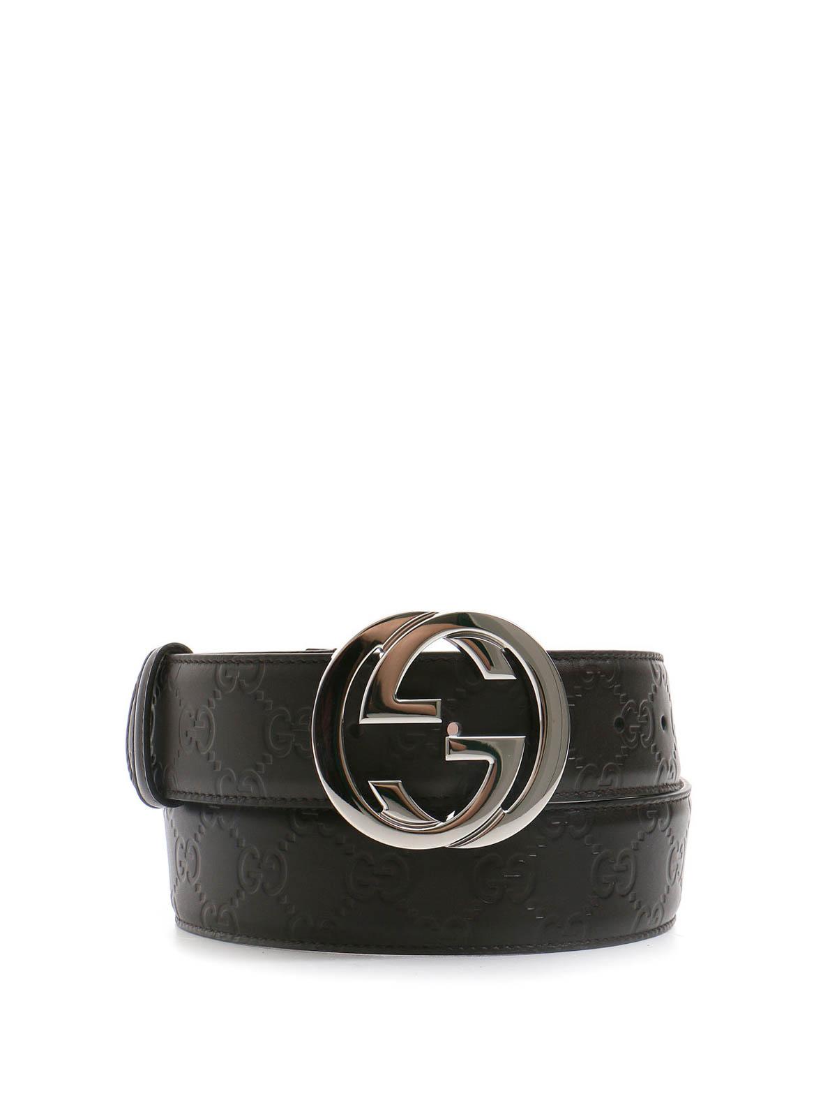 Gucci - Interlocking GG leather belt - belts - 411924 CWC1 ...