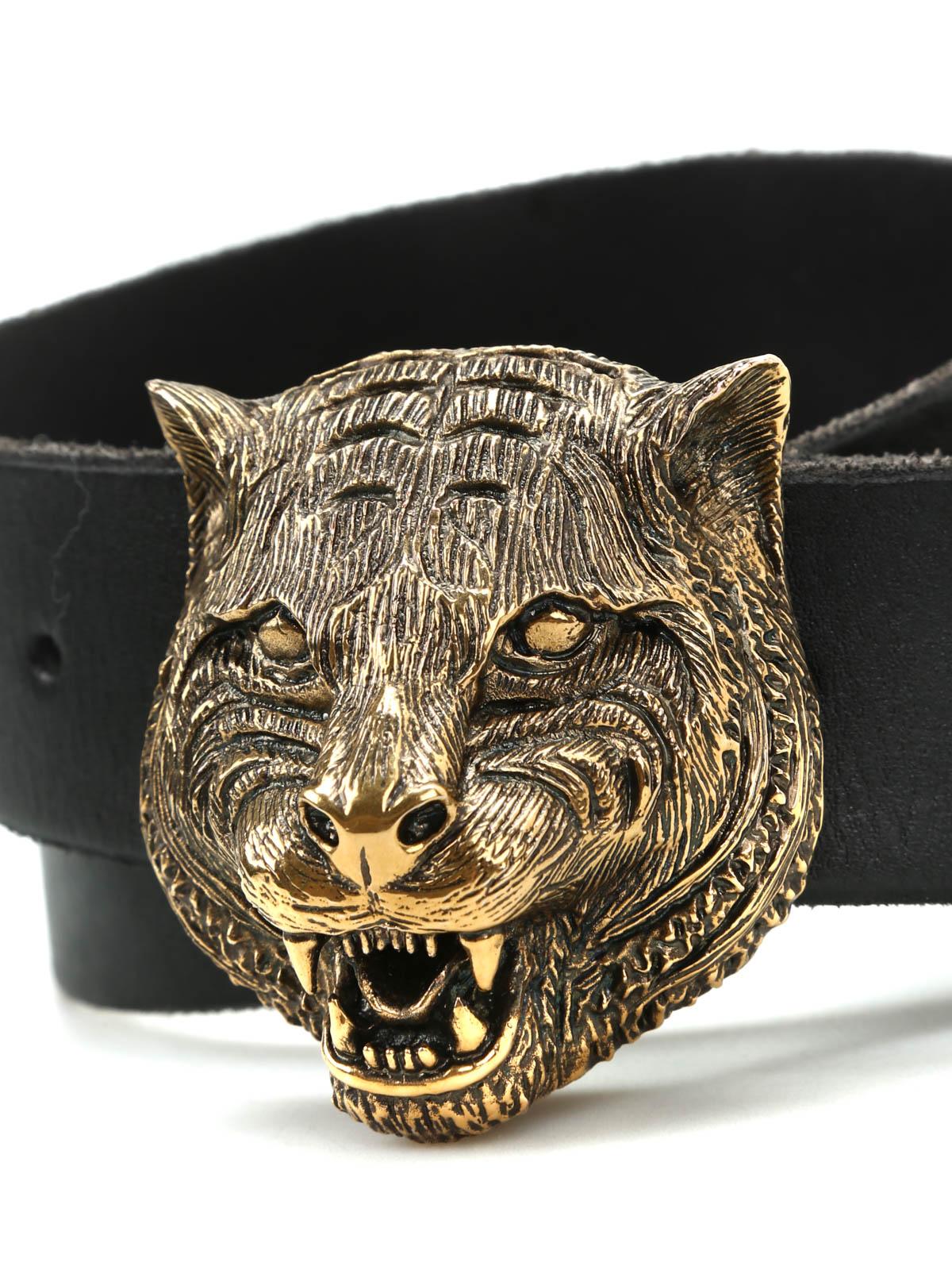 Feline Buckle Leather Belt By Gucci Belts Ikrix