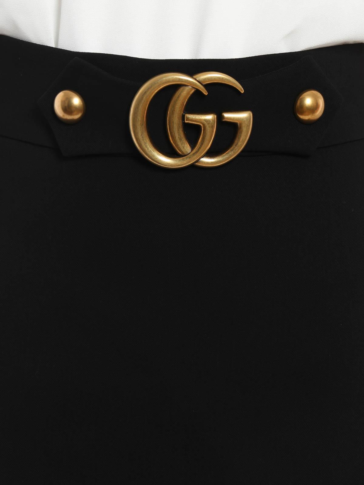 cb0b636da82 Gucci - A-line double G crepe skirt - Knee length skirts   Midi ...