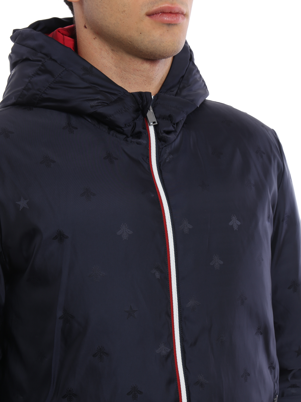 gucci bee and star pattern padded jacket padded jackets
