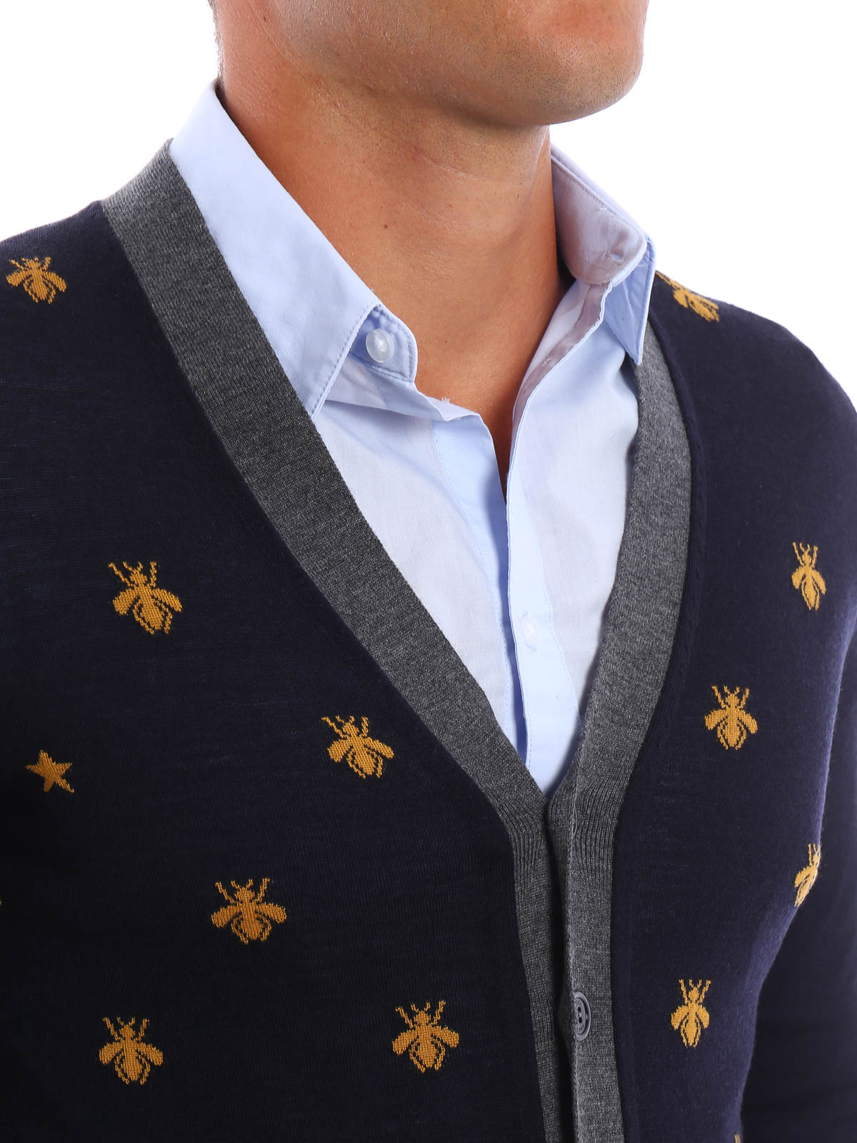 cea95424b Gucci - Bee and star wool cardigan - cardigans - 431747X1311 4559