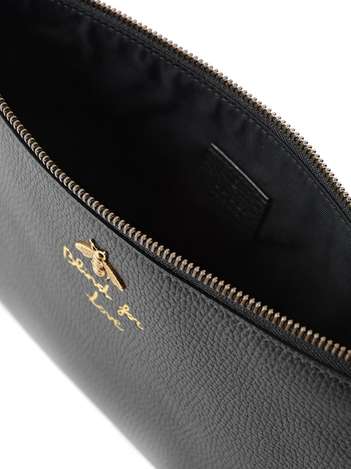 9bcf8f3446d0e7 Gucci - Bee detailed hammered leather pouch - clutches - 460187 ...
