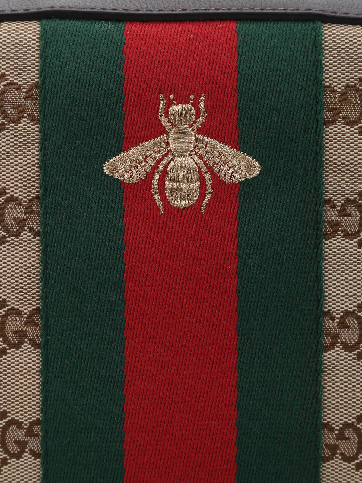Gucci Bee Embroidery Gg Canvas Bag Cross Body Bags