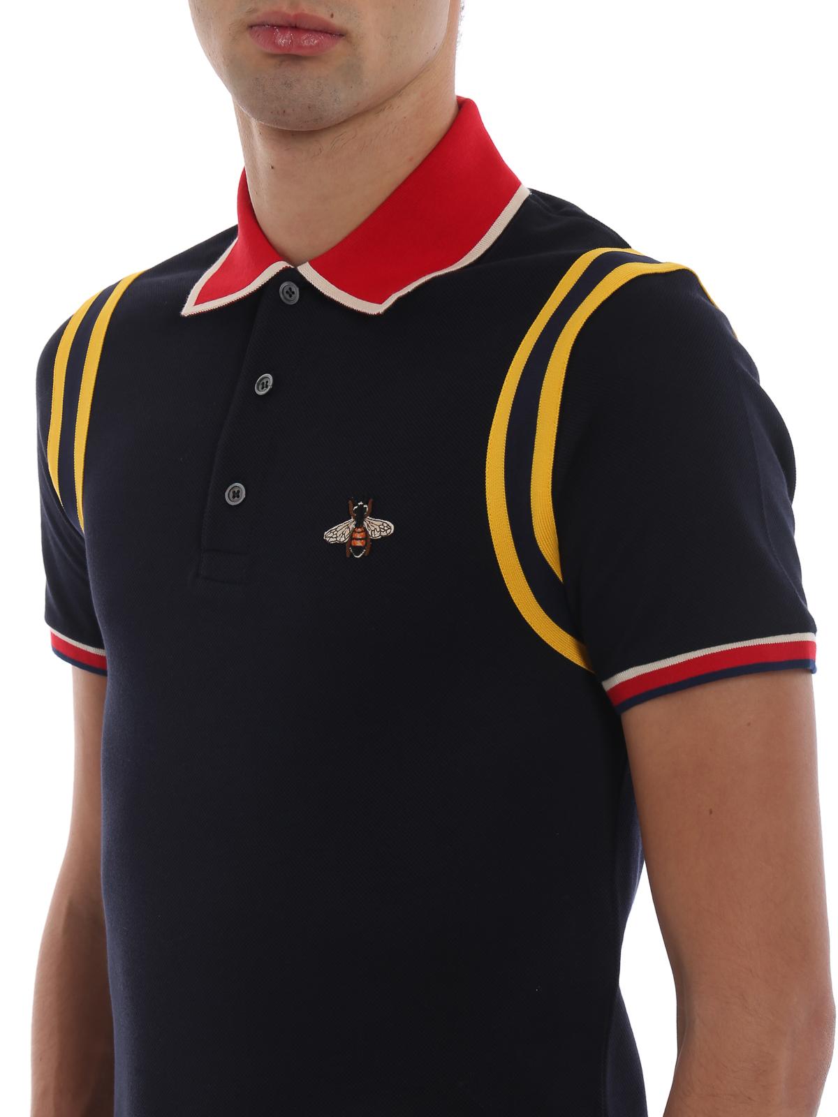 871dca82411 Gucci - Bee patch blue cotton piquet polo shirt - polo shirts ...