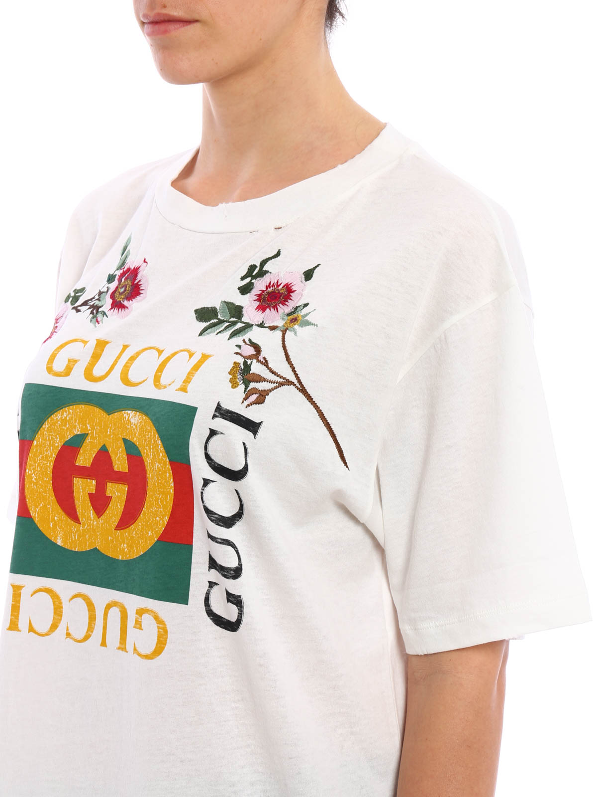 04efd778 Gucci - Embroidered flower printed T-shirt - t-shirts - 457094X5L889234