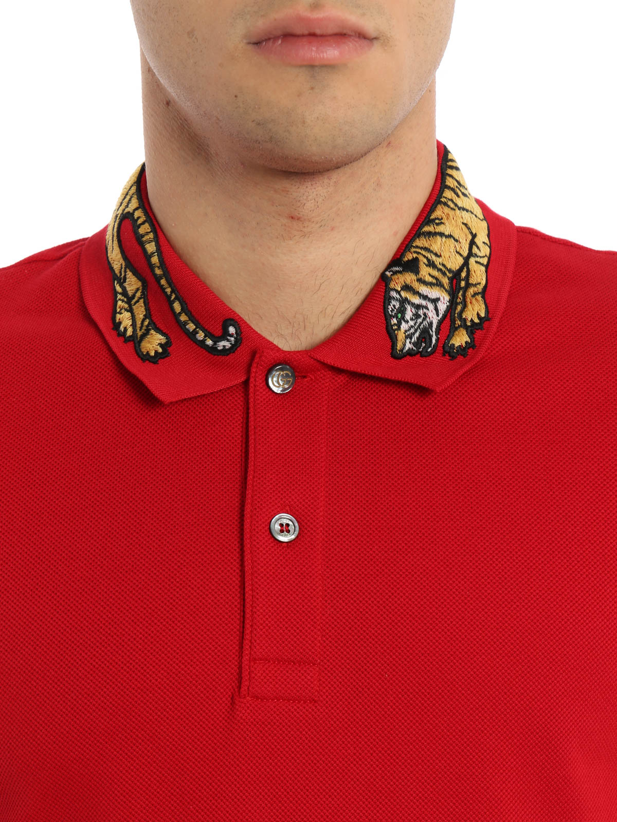 eff0ec15 Gucci - Embroidered tiger patch polo - polo shirts - 453865 X5H82 6519