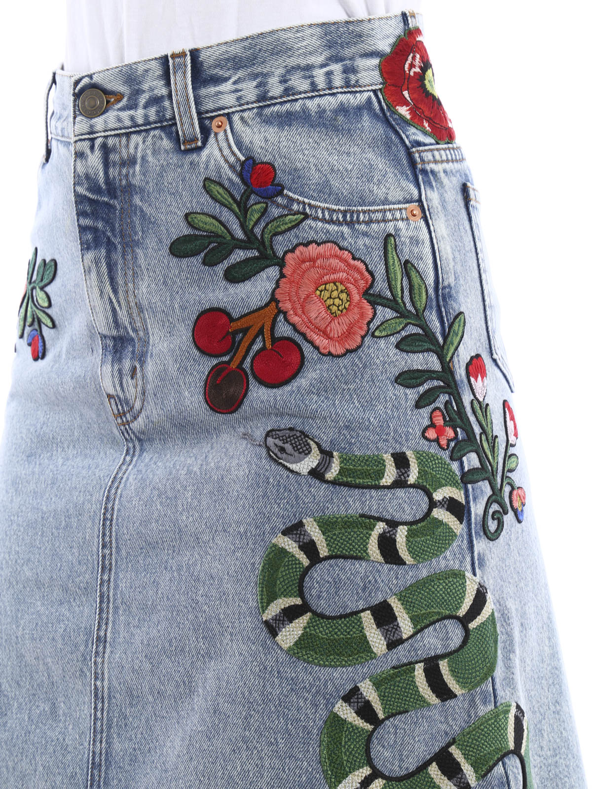 Gucci buy online Embroidered washed denim skirt